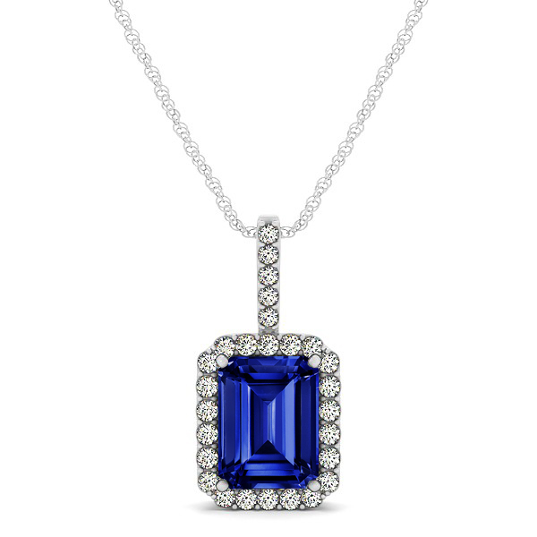 Halo Emerald Cut Sapphire Necklace Classic Design