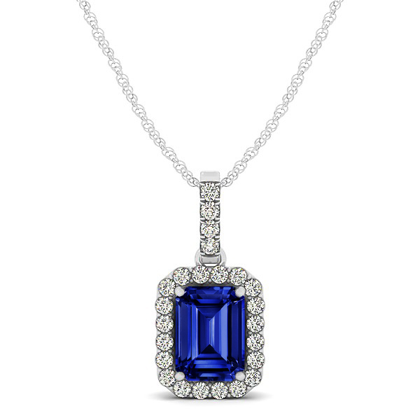Classic Emerald Cut Sapphire Necklace with Halo Pendant