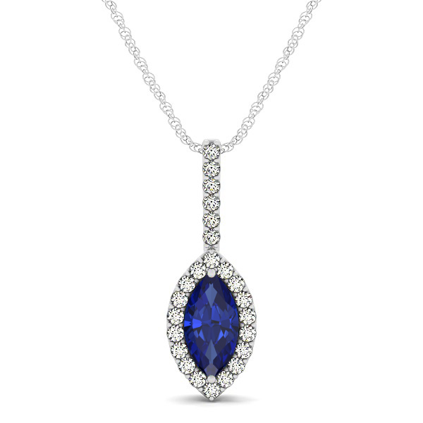 Fashionable Halo Marquise Cut Sapphire Necklace