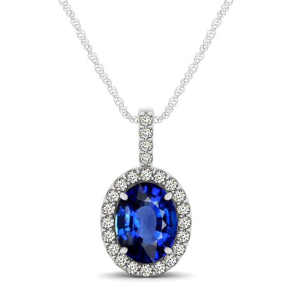 Classic Drop Halo Necklace with Oval AAA Sapphire Pendant