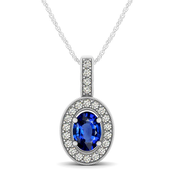 Vintage Oval Cut Sapphire Halo Necklace