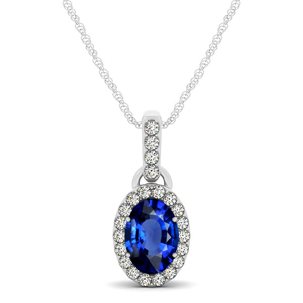 Lovely Halo Oval Sapphire Necklace in Gold, Silver or Platinum