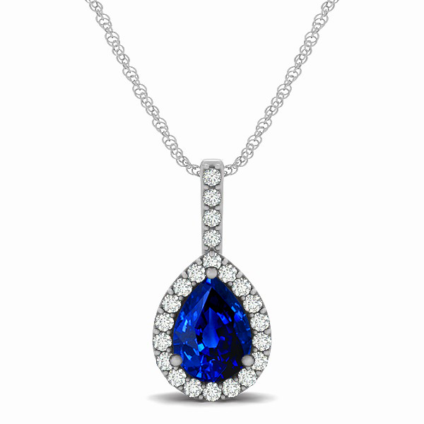 Exclusive Pear Halo Sapphire Pendant Necklace