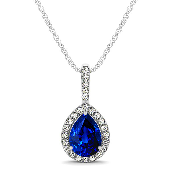 Classic Drop Necklace with Pear Cut Sapphire Pendant