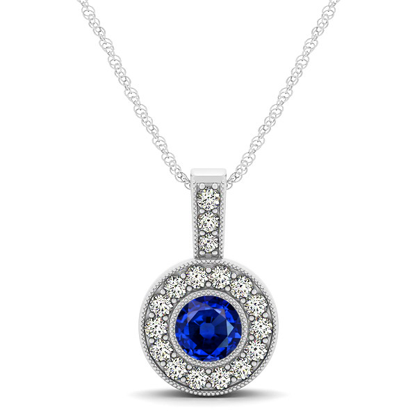 Dark Blue AAA Round Sapphire Vintage Halo Drop Necklace
