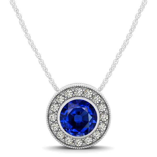 Halo Sapphire Necklace with Round Pendant