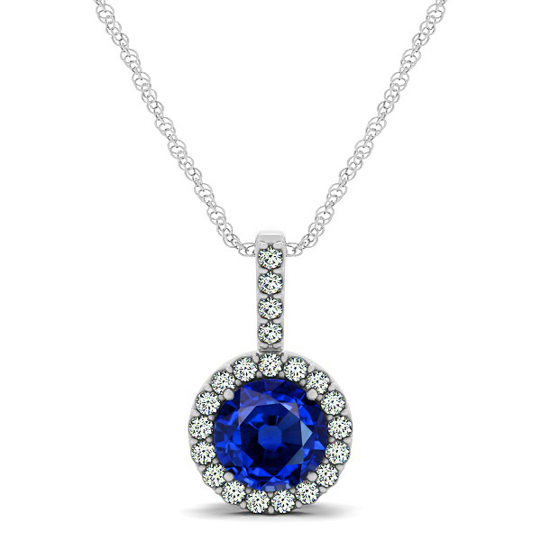 Gorgeous Round Sapphire Halo Necklace