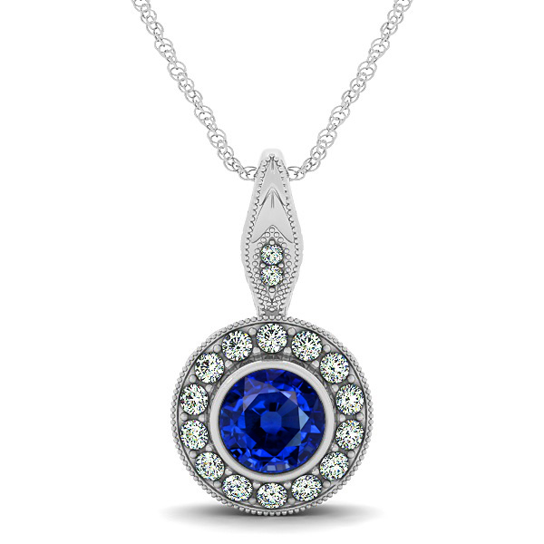 Vintage Sapphire Necklace with Round Halo Circle Pendant