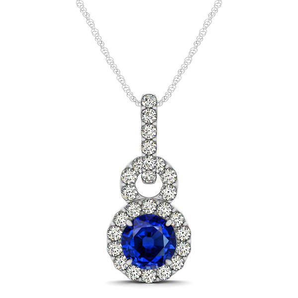 Stunning Infinity Halo Sapphire Necklace