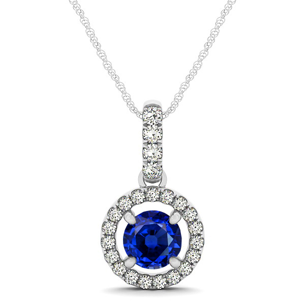 Extraordinary Floating Round Sapphire Halo Drop Necklace