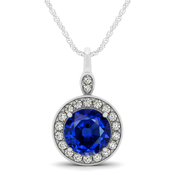 Halo Drop Round Cut Sapphire Necklace