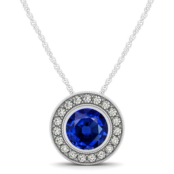 Classy Halo Necklace with Round Cut Sapphire Pendant
