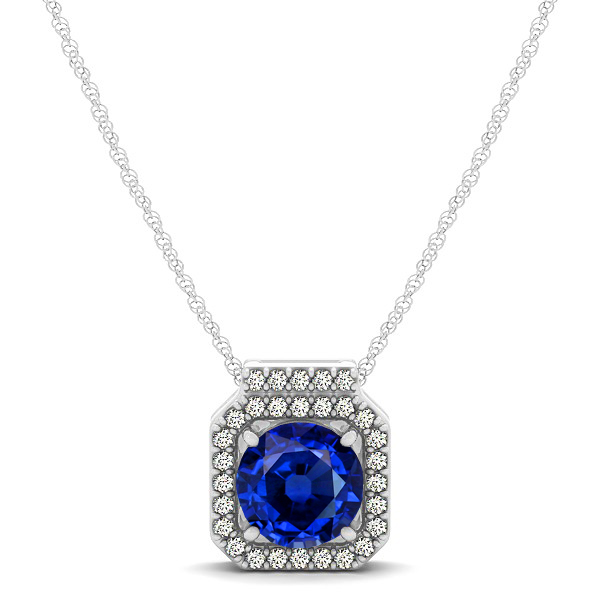 Square Halo Necklace with Round Cut Sapphire Pendant