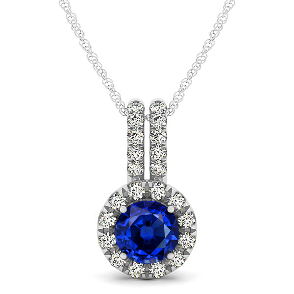 Luxury Halo Drop Necklace with Round Cut Sapphire Gemstone