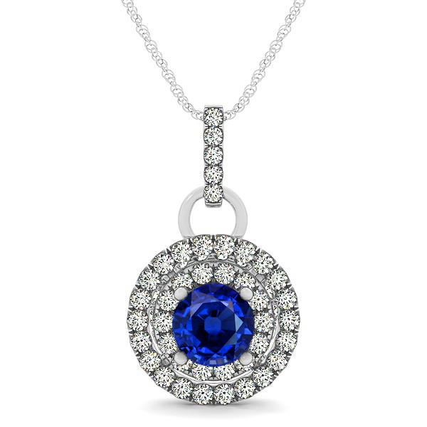 Royal Dual Halo Sapphire Necklace with Circle Pendant