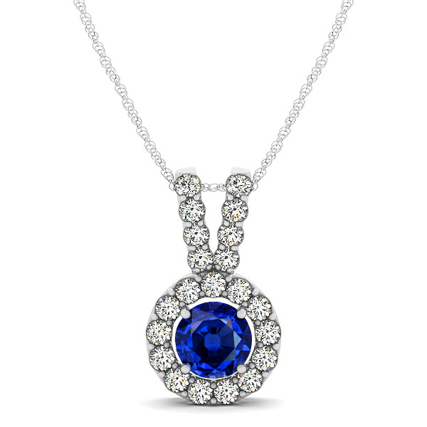 Classique V Neck Halo Necklace with Round Cut Sapphire