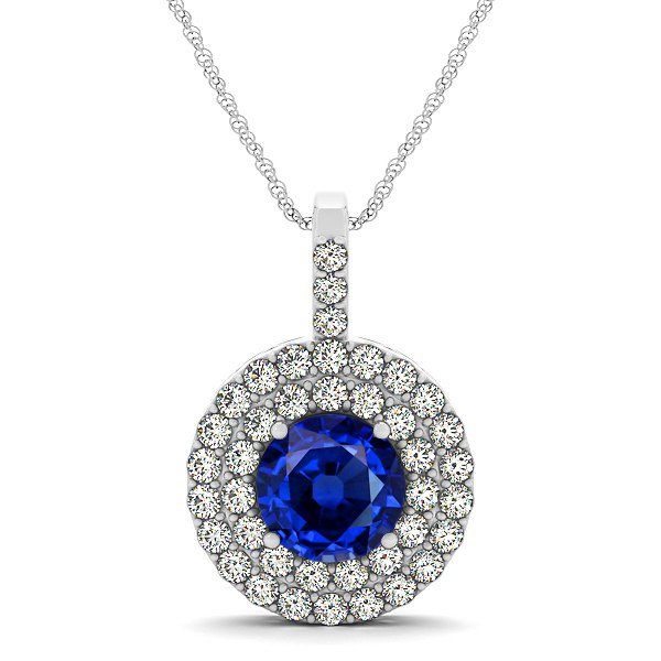Designer Circle Double Halo Sapphire Necklace