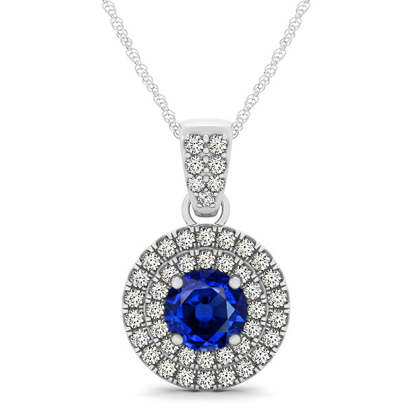Double Halo Round Sapphire Circle Neklace