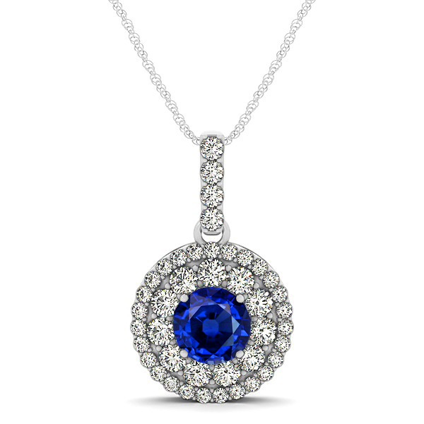 Round Sapphire Necklace with Twin Halo Pendant