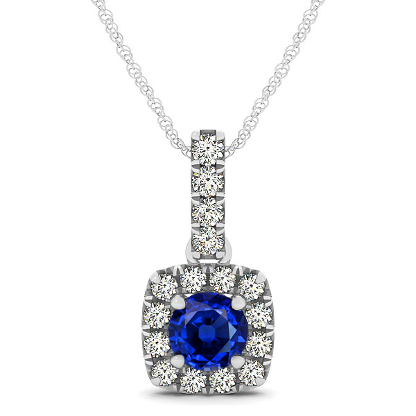 Peculiar Halo Side Stone Round Sapphire Drop Necklace