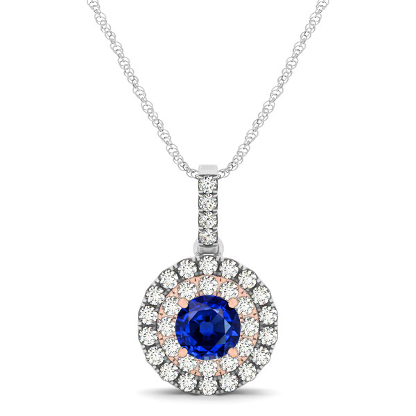 Dual Halo Round Sapphire Pendant Necklace