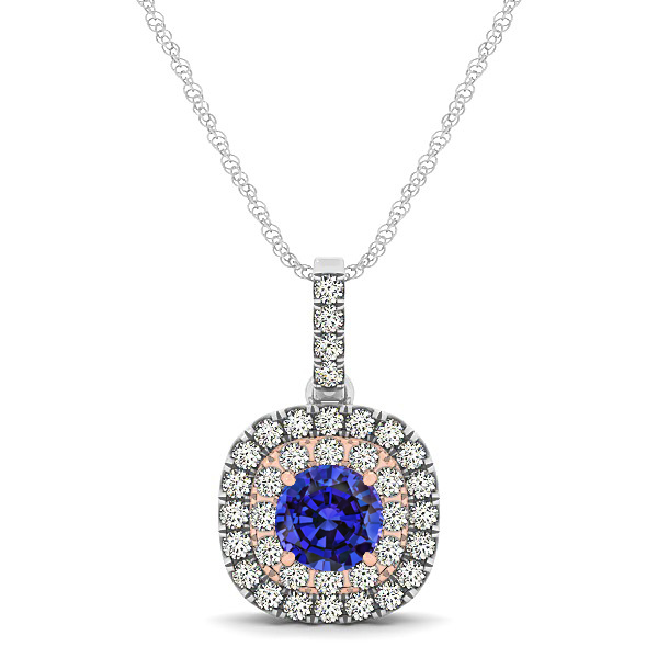 Cushion Shaped Halo Necklace with Round Sapphire Pendant