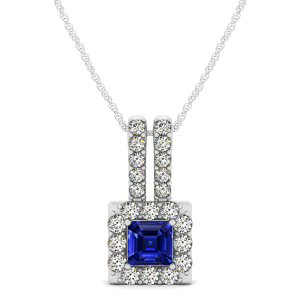 Contemporary Square Halo Necklace Princess Cut Sapphire