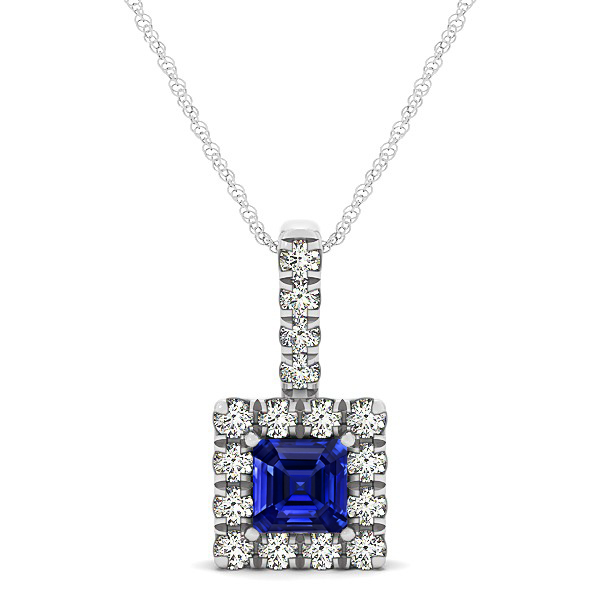 Upscale Square Drop Halo Necklace with Princess Cut Sapphire