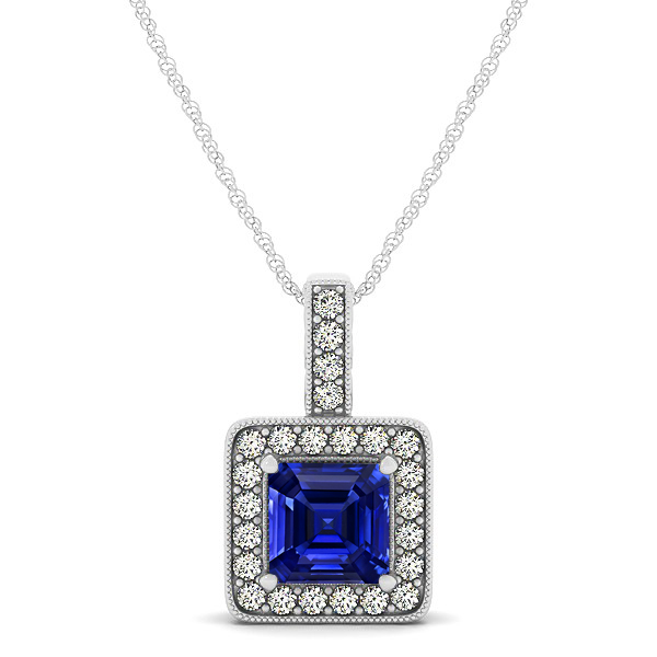 Square Sapphire Halo Necklace in Gold or Sterling Silver
