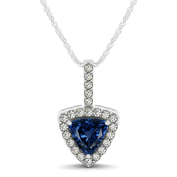Beautiful Trillion Cut Sapphire Halo Necklace