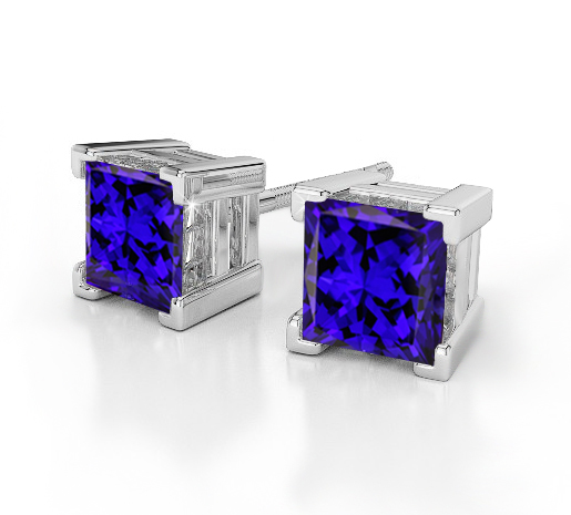 Tanzanite Earrings Princess Cut