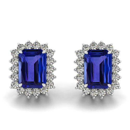 Emerald Cut Tanzanite Stud Earrings