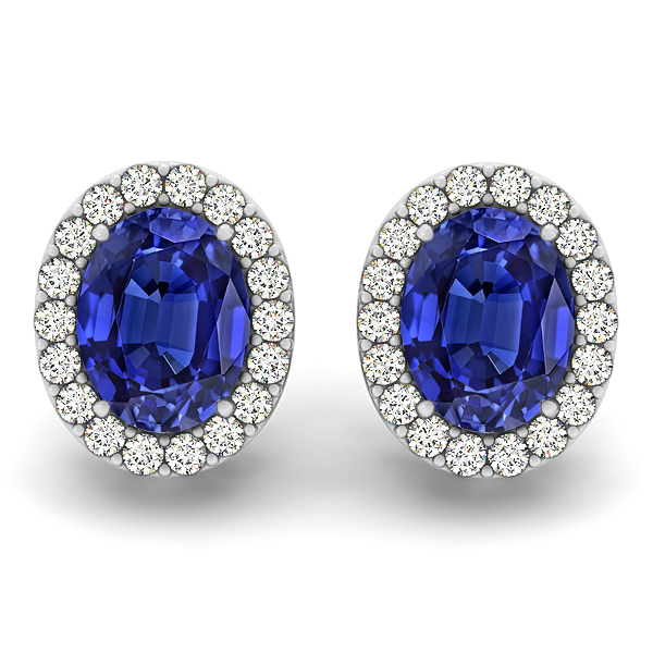 Oval Tanzanite Earrings Studs