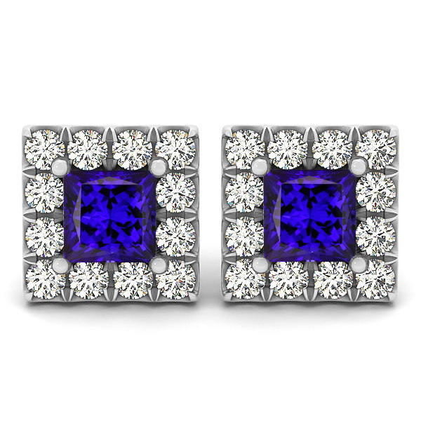 Princess Cut Tanzanite Earrings Studs