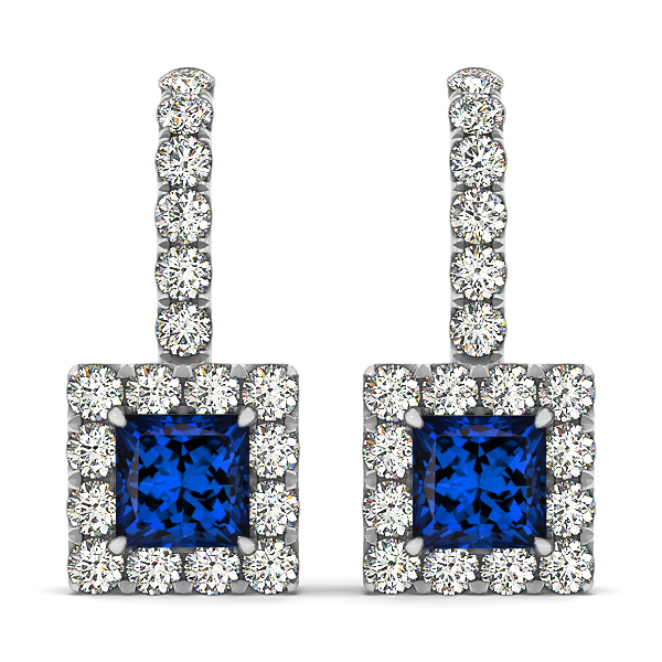 Princess Cut Tanzanite Earrings