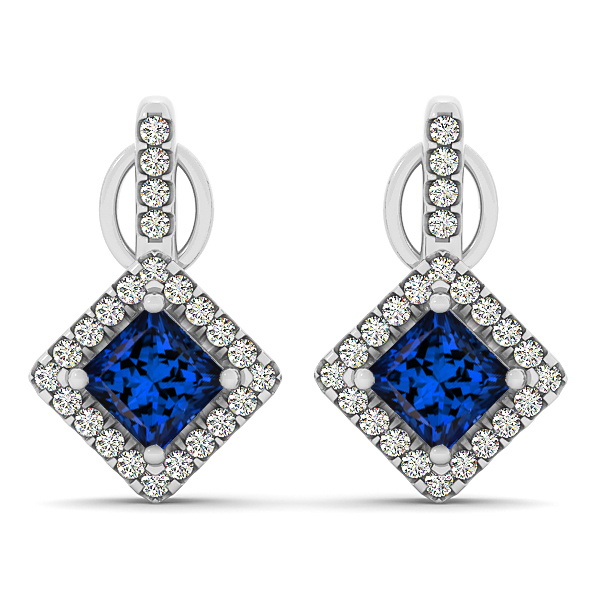 Modern Princess Cut Tanzanite Earrings