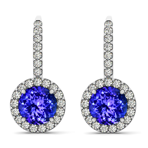 Fancy White Gold Tanzanite Earrings
