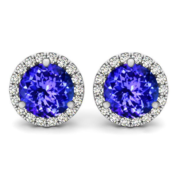 Halo Stud Tanzanite Earrings