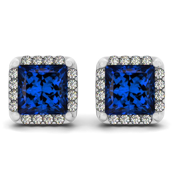 Fancy Princess Cut Tanzanite Earrings