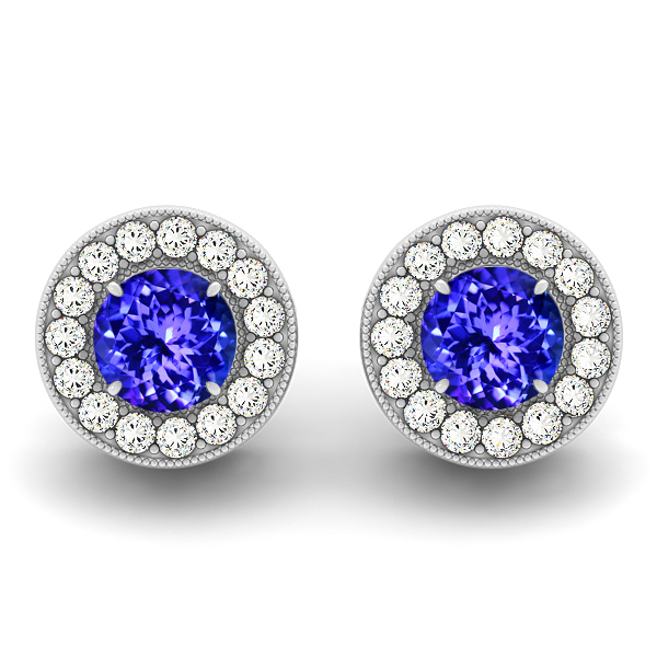 Halo Tanzanite Earrings Round Cut