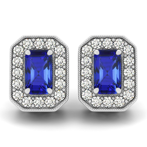 Emerald Cut Tanzanite Earrings