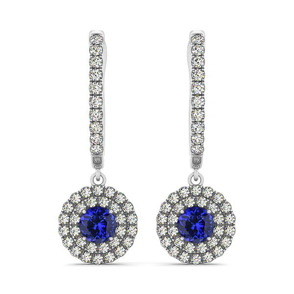 Dangle Tanzanite with Diamond Earrings