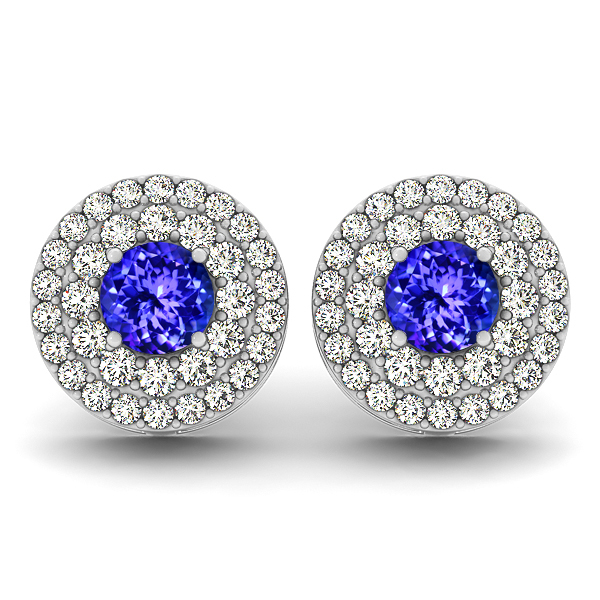 Halo Diamond Tanzanite Earrings