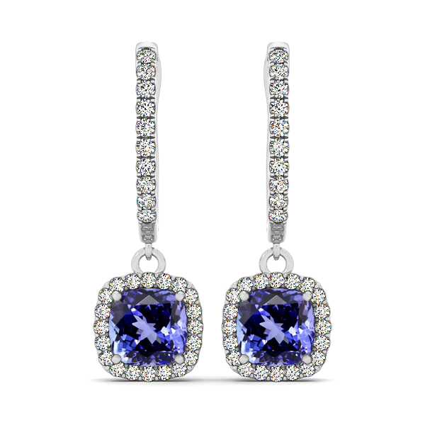 Cushion Cut Tanzanite Earrings
