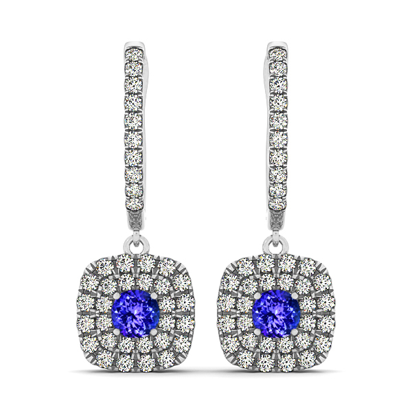 Fine Cushion Tanzanite Earrings