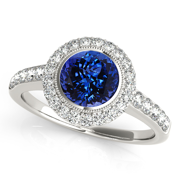Astounding Bezel Setting Halo Tanzanite Engagement Ring