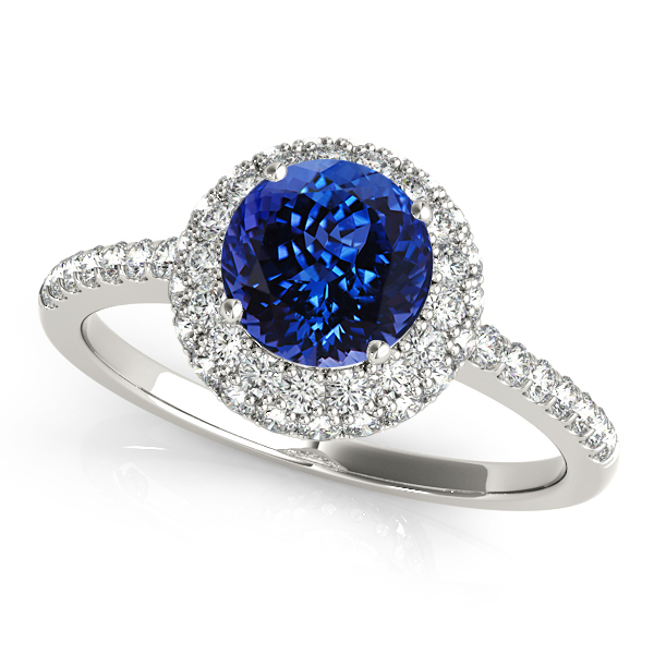 Tanzanite Double Halo Engagement Ring