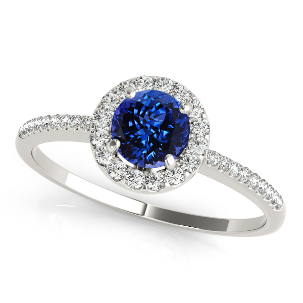 Halo Round Tanzanite Engagement Ring Comfort Fit