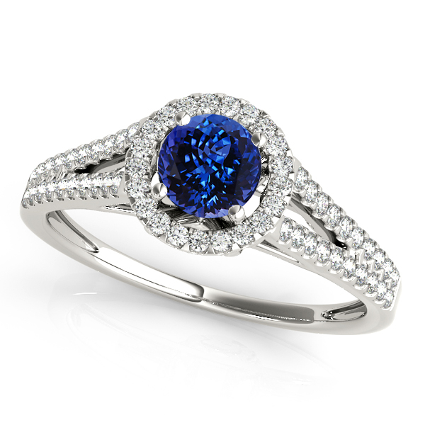 Classic Split Shank Tanzanite Engagement Ring White Gold