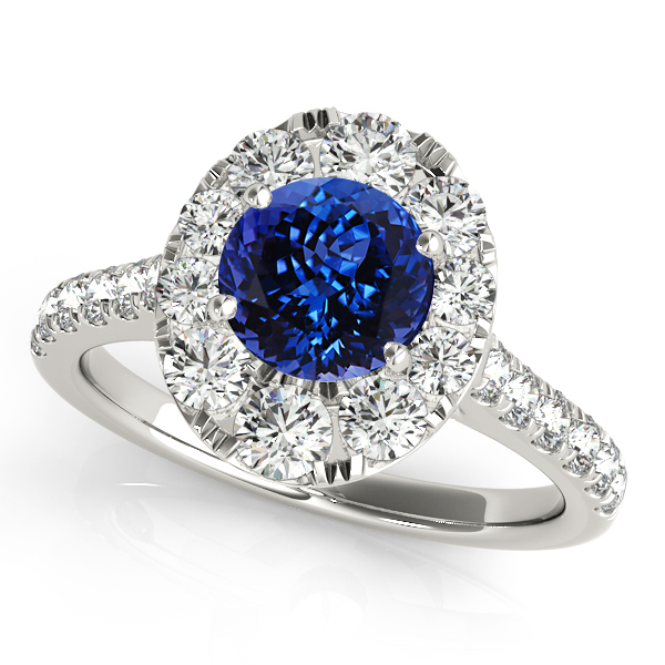 Oval Halo Round Cut Tanzanite Engagement Ring